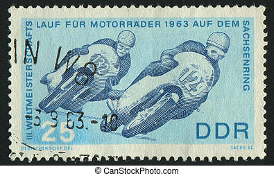 postmark - GERMANY- CIRCA 1963: stamp printed by Germany,...