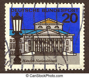 postmark - GERMANY -CIRCA 1964: Munich is the capital city...