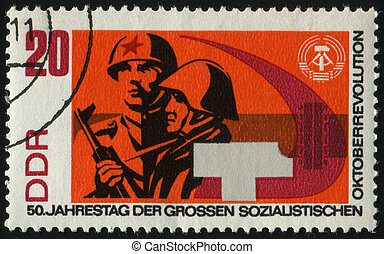 postmark - GERMANY- CIRCA 1967: stamp printed by Germany,...