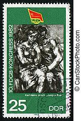 postmark - GERMANY - CIRCA 1982: Free Federation of German ...