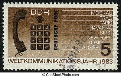 postmark - GERMANY- CIRCA 1983: stamp printed by Germany,...