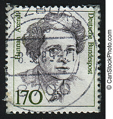 GERMANY - CIRCA 1986: stamp printed by Germany, shows portrait Hannah Arendt, circa 1986.