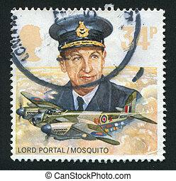 postmark - GREAT BRITAIN - CIRCA 1986: Royal Air Force...