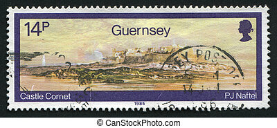 postmark - GUERNSEY - CIRCA 1985: Watercolors by Paul Jacob...