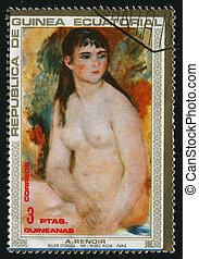 postmark - GUINEA - CIRCA 1987:Pierre-Auguste Renoir was a...