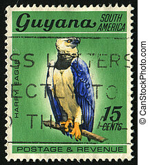 postmark - GUYANA - CIRCA 1968: Birds sit on a tree. Harry...