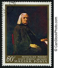 postmark - HUNGARY -CIRCA 1967: Franz Liszt by Mihaly...