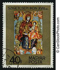 postmark - HUNGARY -CIRCA 1975: Szigetcsep Icon, circa 1975.