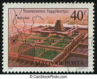 postmark - HUNGARY - CIRCA 1980: Seven Wonders of the...