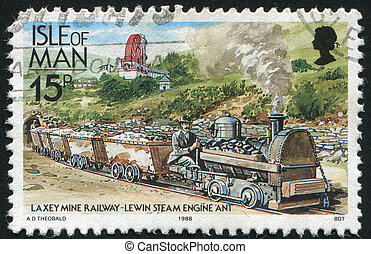 postmark - ISLE OF MAN - CIRCA 1988: Great Laxey Mine...
