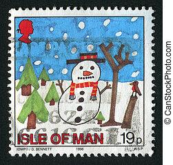 postmark - ISLE OF MAN - CIRCA 1996: Snowman, circa 1996.