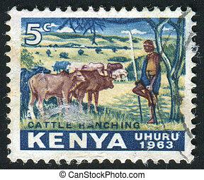 postmark - KENYA - CIRCA 1963: The Kenyan man against...