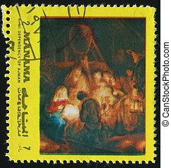 postmark - MANAMA - CIRCA 1972: birth of Jesus Christ, circa...