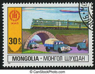 postmark - MONGOLIA - CIRCA 1981: stamp printed by Mongolia,...
