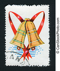 postmark - NETHERLANDS - CIRCA 1985: Christmas bells...