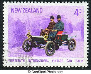 postmark - NEW ZEALAND - CIRCA 1972: Vintage Cars. ...
