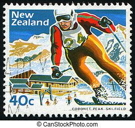 postmark - NEW ZEALAND - CIRCA 1984: Skier, Mount Hult....