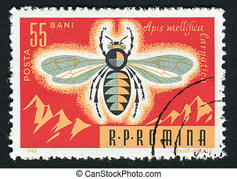 postmark - ROMANIA -CIRCA 1963: Bees are flying insects...