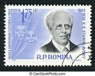 postmark - ROMANIA -CIRCA 1963: Constantin Sergeyevich...