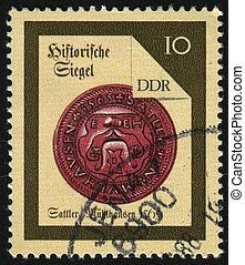 postmark - GERMANY- CIRCA 1988: stamp printed by Germany,...