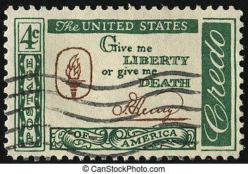 postmark - UNITED STATES - CIRCA 1959: stamp printed by...
