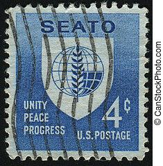 postmark - UNITED STATES - CIRCA 1960: stamp printed by ...