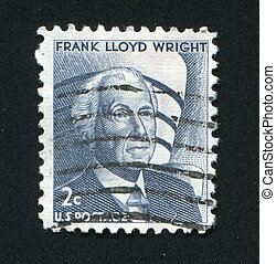 postmark - UNITED STATES - CIRCA 1982: Frank Lloyd Wright...