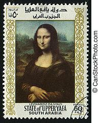 postmark - UPPER YAFA - CIRCA 1967: Mona Lisa or La...