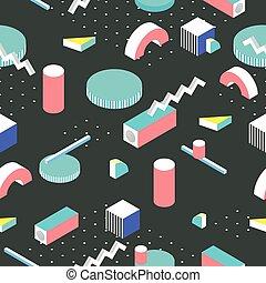 Postmodern 80s style seamless pattern. 3d isometric...