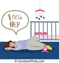 Postpartum or postnatal depression. Vector tired woman and newborn illustration