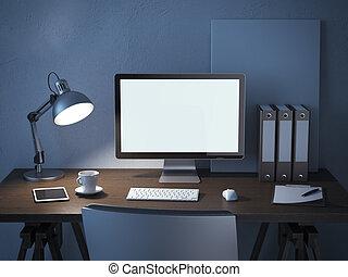 posto lavoro, con, monitor computer, notte