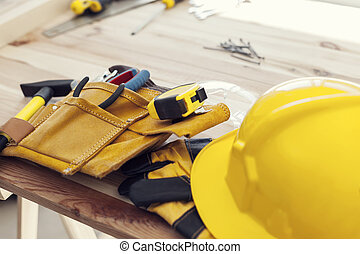posto lavoro, di, professionale, lavoratore costruzione