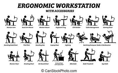 posto lavoro, ergonomico, scrivania, computer, workstation.