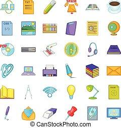 posto lavoro, icone, set, cartone animato, stile