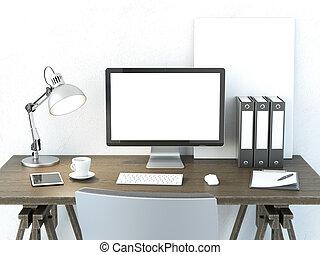posto, lavoro, monitor computer