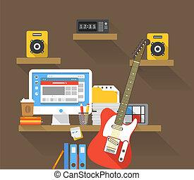 posto, musicant, lavorativo