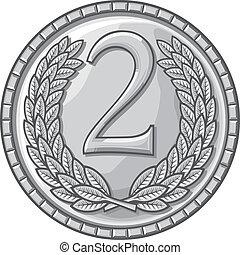 posto, secondo, medaglia