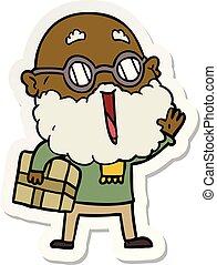 postpaket, aufkleber, freudig, unter, karikatur, mann, arm, ...