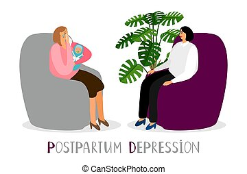 Postpartum depression. Vector crying mother with newborn. Psychoterapy for new parents vector concept