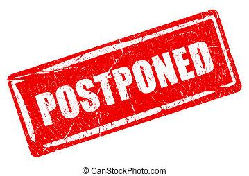 Postponed rectangular rubber stamp on white background