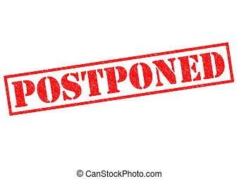 POSTPONED red Rubber Stamp over a white background.