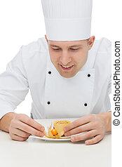 postre, chef, cocinero, decorar, macho, feliz