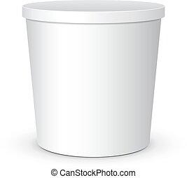 postre, embalaje, alimento, cubo, blanco, yogur, eps10, tina, crema, vector, listo, design., arriba, agrio, snack., contenedor, producto, o, helado, su, simulado, plástico