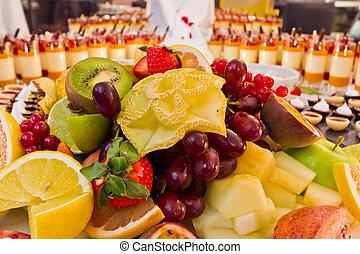 postre, fruta, buffet