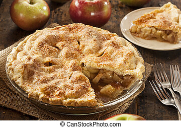 postre, orgánico, manzana, casero, pastel
