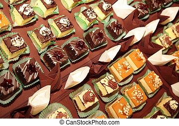 postres, pasteles, variedades, dulces, abastecimiento