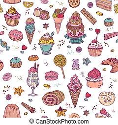 postres, patrón, -, seamless, dulces, vector, plano de fondo, pasteles
