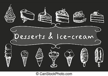 postres, tiza, helado, set.