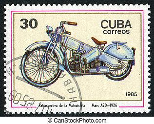 poststamp motorbike - CUBA - CIRCA 1985: stamp printed by...