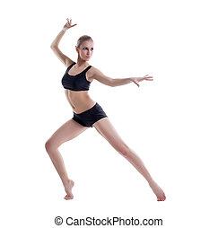 postura baile, elegante, posar, sexy, rubio